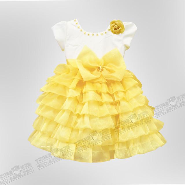 Quần áo trẻ em, bodysuit, Carter, đầm bé gái cao cấp, quần áo trẻ em nhập khẩu, Đầm dạ hội phồng cao cấp màu vàng dành cho bé gái 12-45kg(15k)