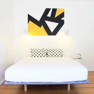 Scandinavian grey felt wood dowel leg platform bed DIY