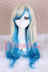 63cm long zipper beige+blue wavy Cosplay hair wig RW157-B