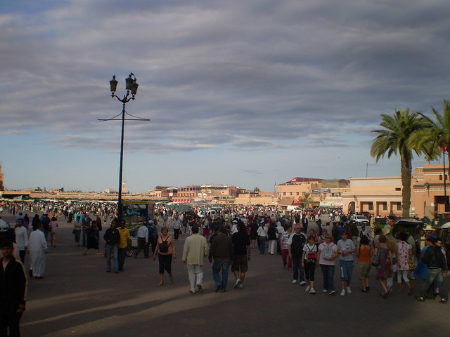 The Djemaa el Fna at sunset, just as the festivities get under way