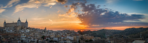 houses panorama sunrise landscape spain toledo alcazar