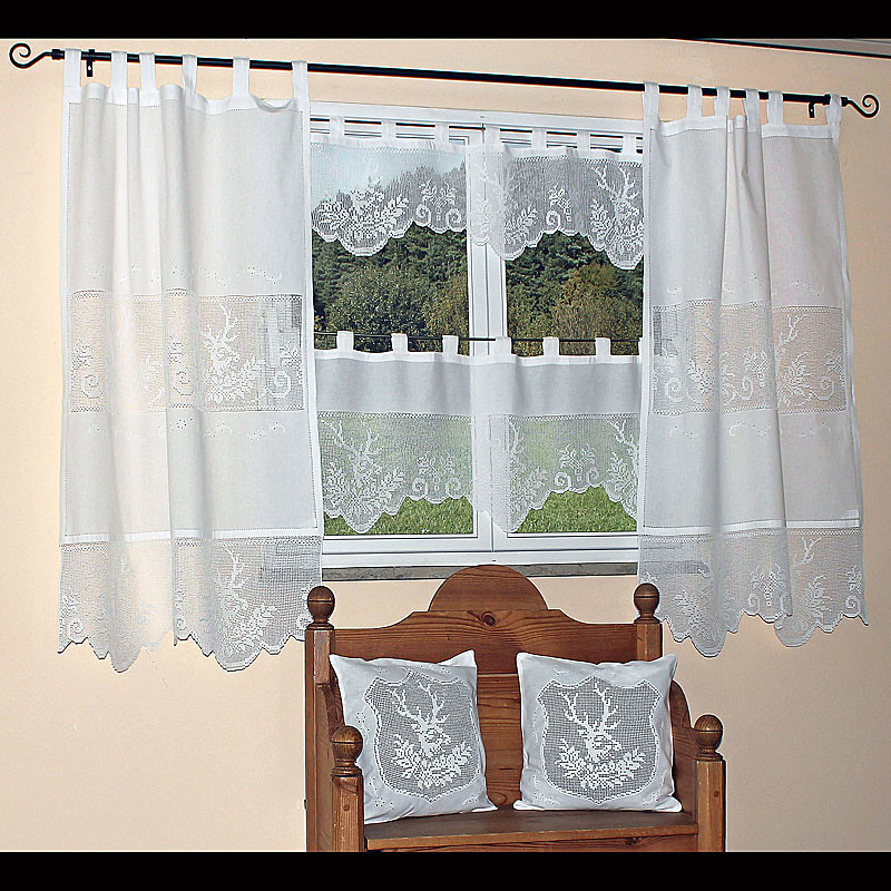 panneaux hirsch gardine hossner breite 120 cm farbe wei h he w hlbar ebay. Black Bedroom Furniture Sets. Home Design Ideas