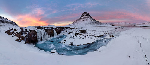 kirkjufell iceland witcheshat waterfall sunset river ice snow winter haidafilters gitzo manfrotto melvinnicholsonphotography