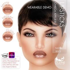 DEMO Oceane - Sultry Lipsticks 3 styles - Beige Omega