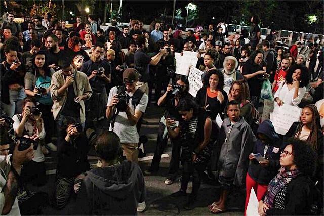 Na última segunda (24), o movimento negro realizou um protesto na avenida Paulista pela liberdade de Rafael Braga - Créditos: Pedro Borges/Alma Preta