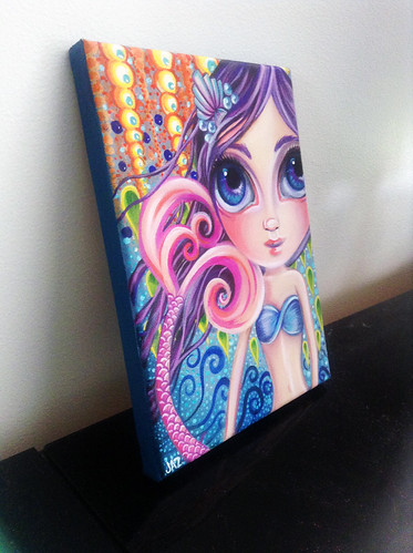 """A Splash of Colour"" Mermaid Painting by Jaz Higgins - Side View"