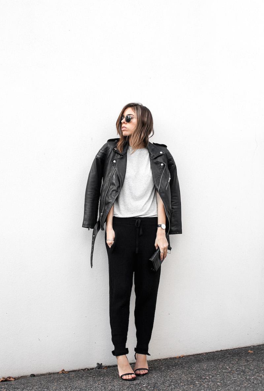 modern legacy fashion blog Australia BLK DNM leather biker jacket 8 Zimmermann grey basic tee Bassike cable knit pants Alexander Wang Antonia heels street style (1 of 6)