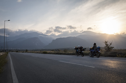 sunset mountain clouds olympus greece motorcycle litochoro