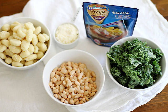 One Pan Creamy Parmesan Garlic Gnocchi with White Beans and Kale | girlversusdough.com @stephmwise