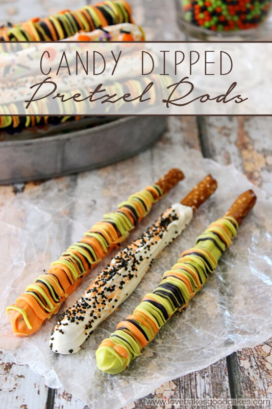 These Candy Dipped Pretzel Rods are perfect for parties or for an easy no-bake treat! You can easily adjust the colors and sprinkles to fit any holiday or celebration! #pretzels #easyrecipes