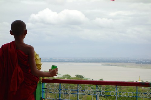 Young monk enjoying view from Sagaing Hill, Myanmar