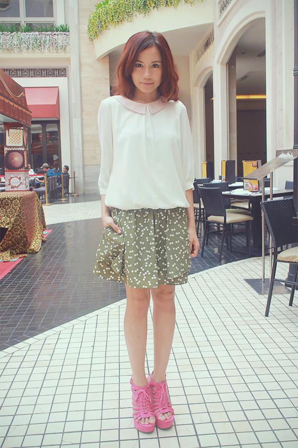 love chic lovechic shai lagarde shailagarde outfit style fashion blogger manila polka dot skirt chiffon top pink platform sandals 4
