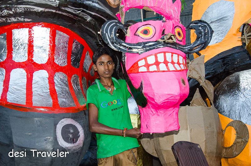 boy wearing Google T shirt shows Ravana with big teeth