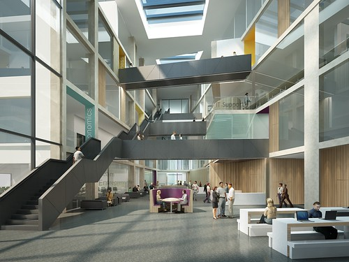 CGI image of the Atrium within the new Faculty of Business and Law building on Frenchay Campus