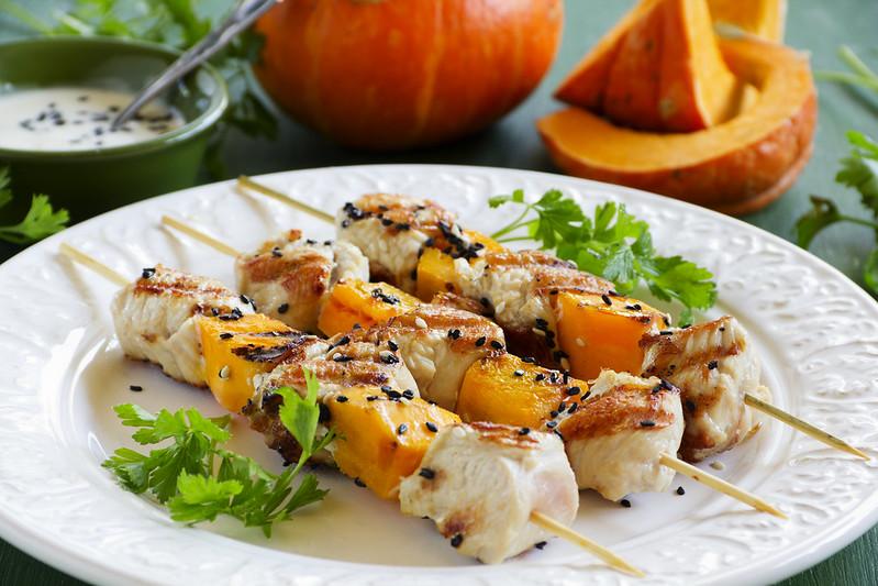 Shish kebab from Turkey and pumpkin.