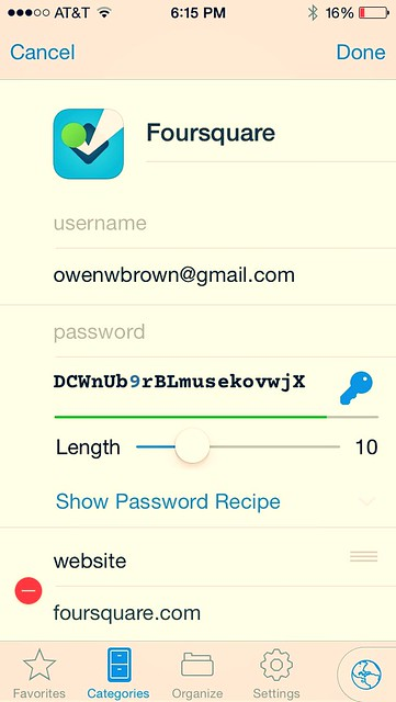 Editing Password for Account