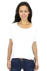 Womens Scoop Neck T Shirt White Short Sleeve