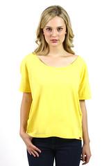 Womens Scoop Neck T-Shirt Yellow Short Sleeve