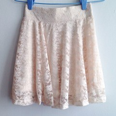 H&M Peach Lace Skater Skirt