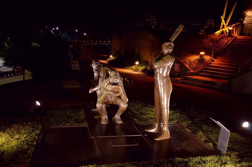 nightphotography sculpture bronze flickr baseball tennessee chattanoogatn nightbaseball bluffviewartdistrict