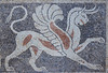 Greek pebble mosaic floor depicting a griffin