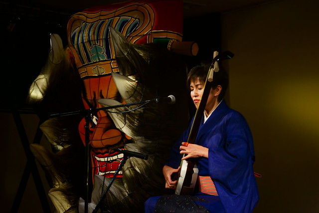 津軽三味線 Tsugaru Samisen player at Ringobako, Aomori Japan, 22 Sep 2014. 148