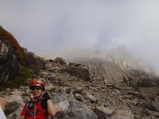 Clare and Little Matterhorn in Fog