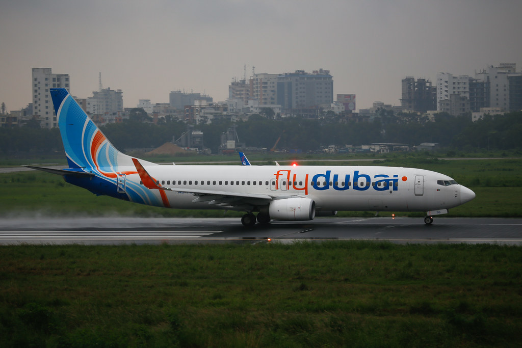 FlyDubai Boeing 737 in Dhaka, Bangladesh
