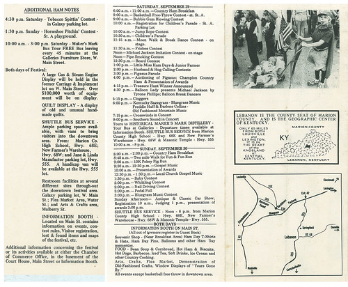 Marion County Country Ham Days 1984 Brochure, Back and Insert