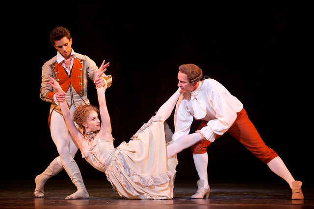 Ricardo Cervera as Lescaut, Marianela Núñez as Manon and Christopher Saunders as Monsieur G.M. in Manon ©ROH 2014. Photo by Alice Pennefather