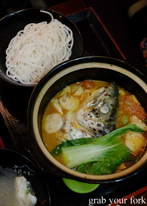Fish head with chilli sauce in rice noodles at Three Lanes and Seven Alleys, Chinatown