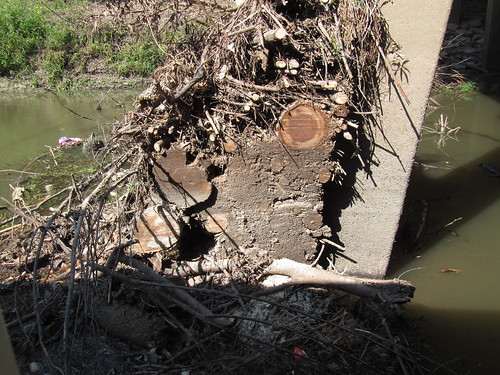 Logs and mud, cross section.