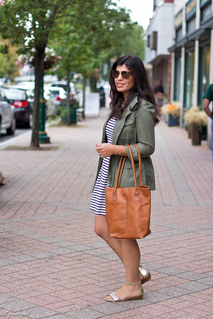 striped dress, utility jacket, brown leather tote-7.jpg