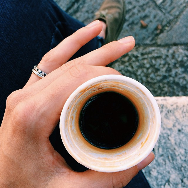 "It's a common misconception that one can't get a coffee ""to go "" in Italy. In fact, you can but it's going to be the cutest, tiniest styrofoam cup you've ever seen. #portavia #italy"