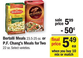 picture about Pf Changs Printable Coupon titled $2/2 Bertolli or P.F. Changs Frozen Food stuff Printable Discount codes