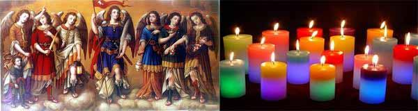 Imagen de los siete arcángeles de Dios con velas