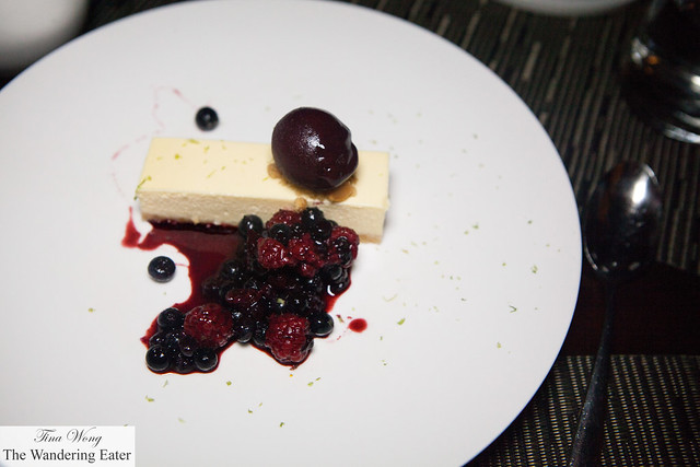 Crème fraîche cheesecake, berry sorbet, mixed berries compote