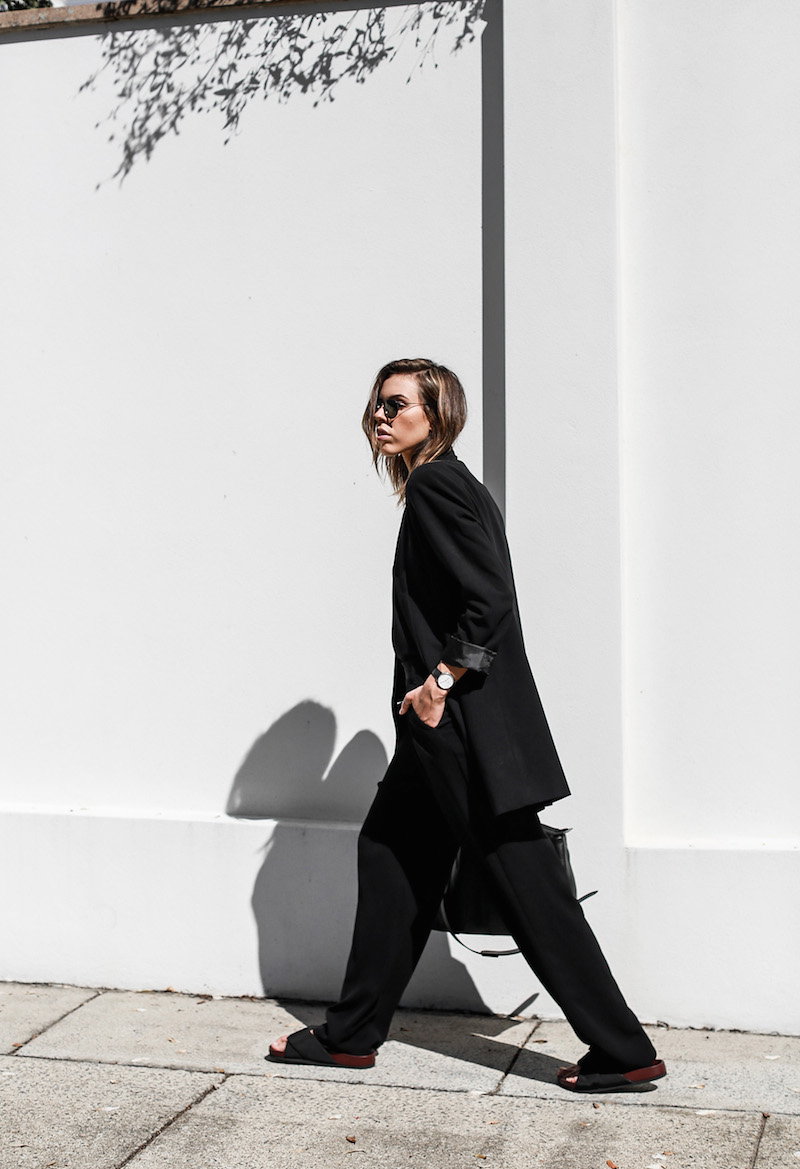 modern legacy fashion blog suit street style Celine slide sandals Max Mara wide leg pants boyfriend blazer Alexander Wang bag all black work wear (10 of 13)
