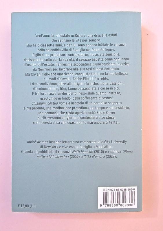 André Aciman, Chiamami col tuo nome. Guanda 2014. grafica di Guido Scarabottolo; illustrazione Giovanni Mulazzani. Quarta di copertina (part.), 1