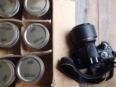 Camera, Mason Jars, Wood Backdrop