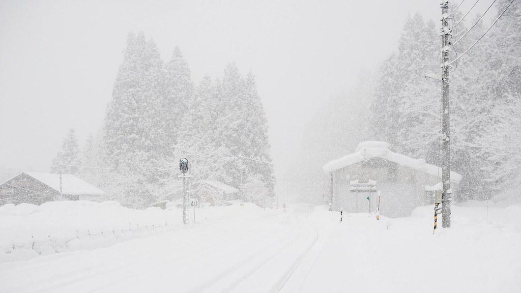 只見線沿線_大雪