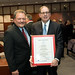 State Rep. Tony D'Amelio and Frank J. Travisano pose with the official citation honoring Frank for his continued efforts on behalf of Italian-Americans during the legislature's 2017 Saint Joseph's Day celebration.