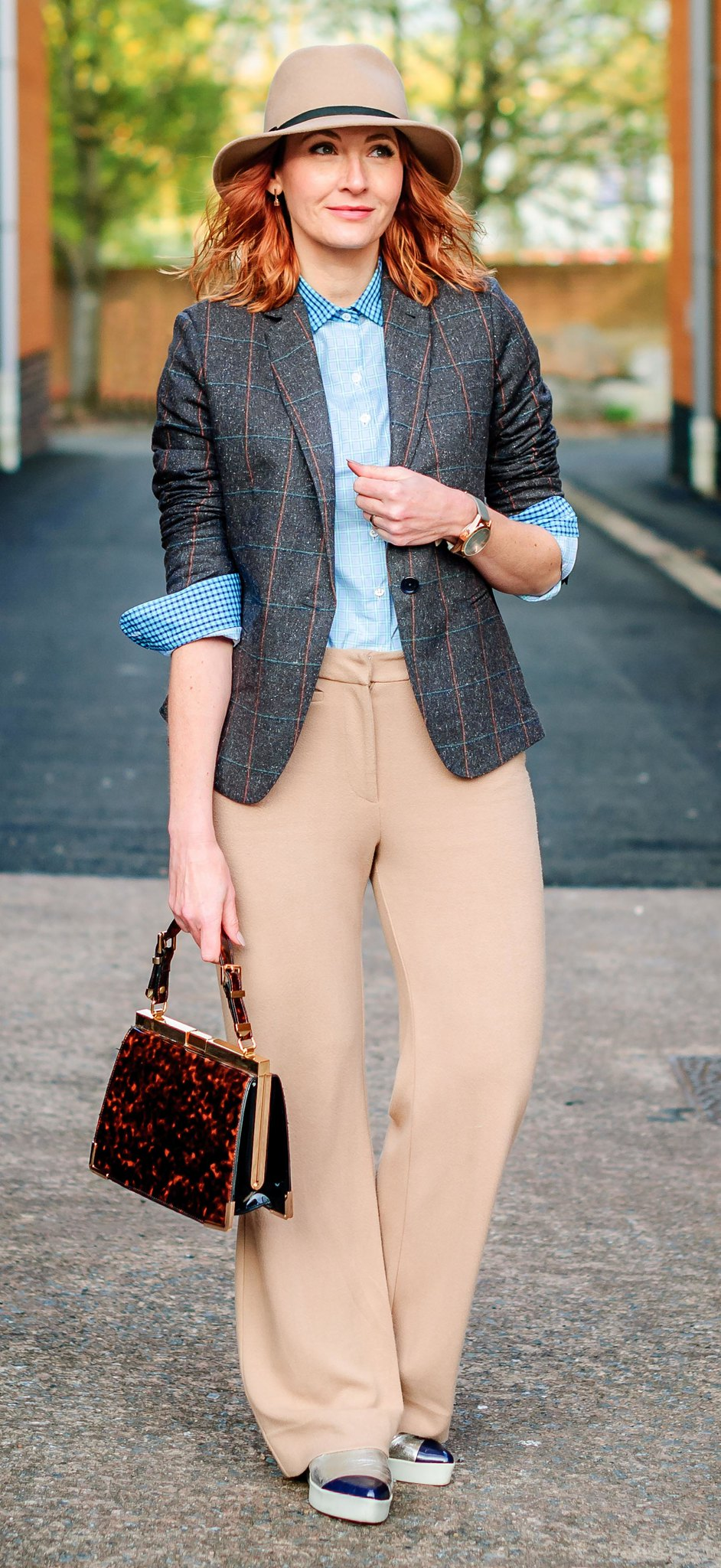 Smart British tailoring by Arthur Shirtley: Check shirt \ tweed silk blazer \ camel wide leg trousers \ silver slip on sneakers \ tortoiseshell bag \ camel fedora | Not Dressed As Lamb, over 40 style