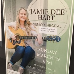 Congratulations to Jamie Dee Hart, senior voice major, on a beautiful recital last night!   #student #seniors #apu #voice #performance #perform #recording #music #guitar #bass #strings #fun #love