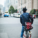 Young man riding bicyble