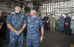 Vice Adm. Tom Rowden speaks with Culinary Specialist 3rd Class Jonathan Savage during an all-hands call aboard USS Coronado (LCS 4). (U.S. Navy/MC2 Amy M. Ressler)