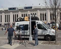 NY 1 Spectrum News Satellite Truck, 2017 Yankees Home Opener at Yankee Stadium, The Bronx, New York City