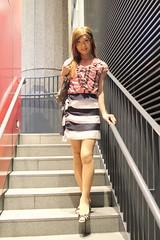 Check ruffle blouse and Marine miniskirt_11