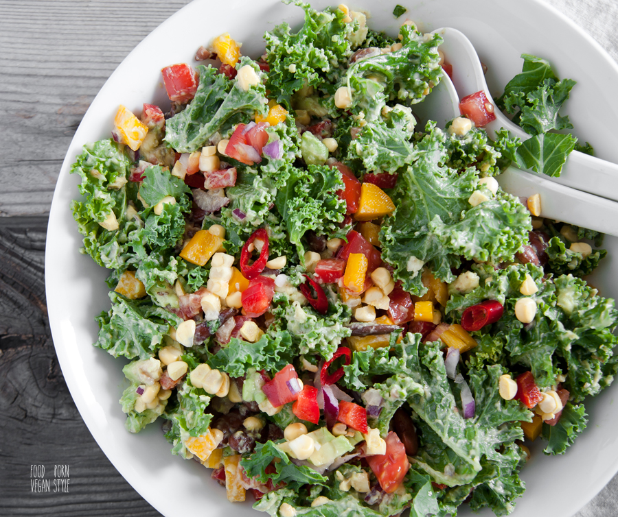Vegan mexican style salad with beans,sweetcorn,avocado and kale