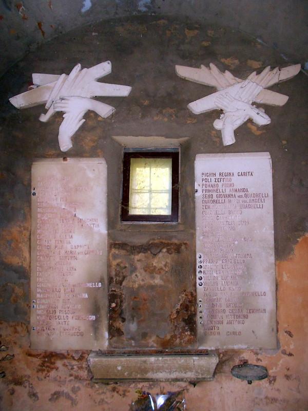 campanile bombardato, Lusia, Virgilio Milani, elenco dei caduti